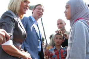 Vučić és Merk migránsok között Észak-Bácskában