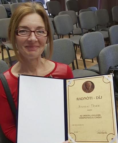 A szabadkai Binszki Teréz Magyarországon elnyerte az ország legjobb versmondója címet